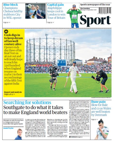 Guardian sport section on Monday
