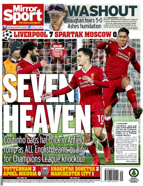 Liverpool put on a show as all English sides progress to the Champions League knockout stages, says the Mirror