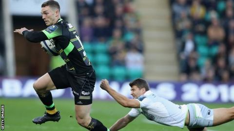 George North in action for Northampton against Saracens