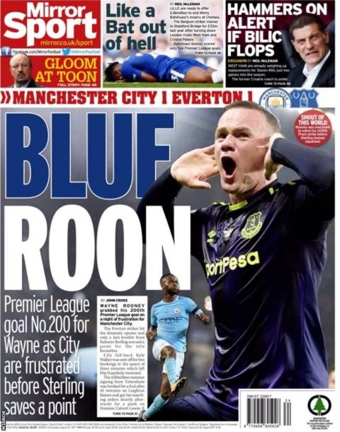 Finally the Mirror back page also focuses on Rooney