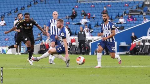 Raheem Sterling scores to put City 1-0 up