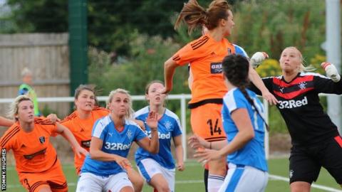 Action from Glasgow City v Rangers