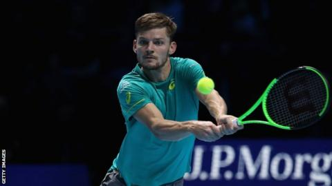 David Goffin in action at the ATP Finals in London