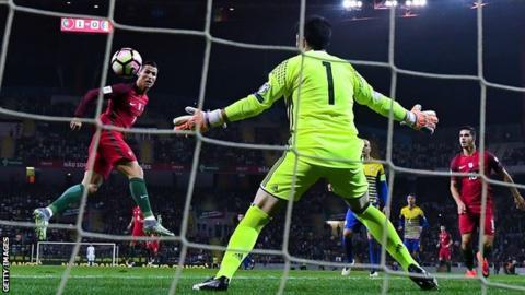 Cristiano Ronaldo (left) scores against Andorra