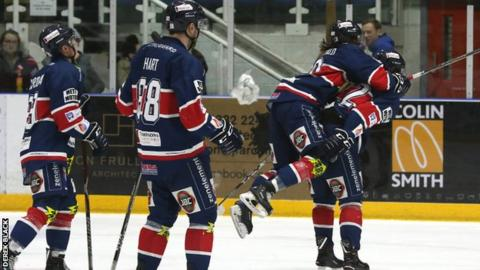 Dundee Stars celebrate their second goal against Sheffield Steelers, but the game was snatch from them in cruel fashion