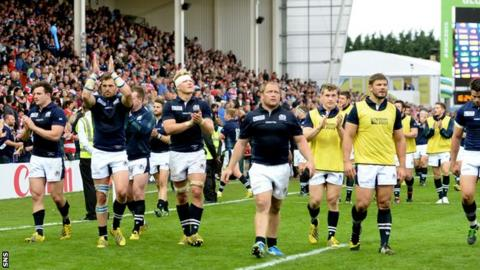 Scotland players celebrated a 45-10 victory over Japan