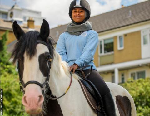 Khadijah Mellah on a horse at Ebony