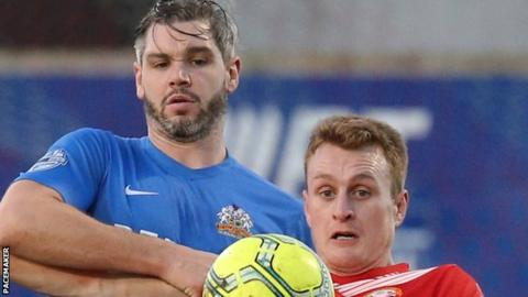 Dave Elebert played for Glenavon in the 2-2 draw at Portadown on Boxing Day