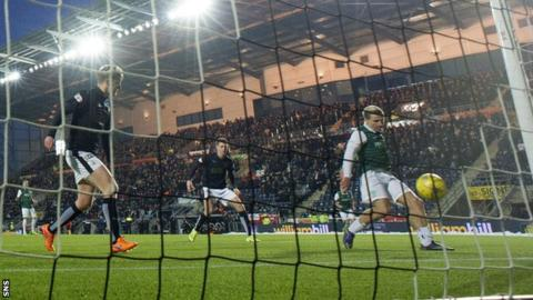 Jason Cummings scores for Hibernian against Falkirk