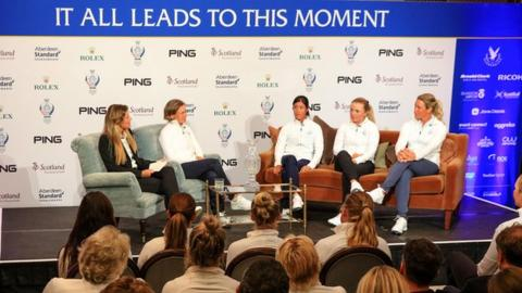Catriona Matthew of Scotland (second from left) announces her wildcard picks (L-R seated on the right) Celine Boutier of France, Bronte Law of England, and Suzann Pettersen of Norway