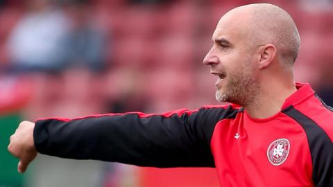 Cliftonville interim manager Gerard Lyttle delivers instructions in the game against Glentoran in his first match in charge after the shock resignation of Tommy Breslin