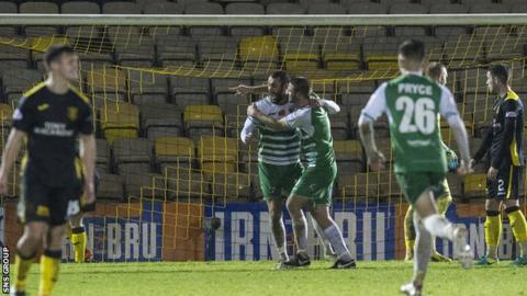 Steven Saunders celebrates knocking in the second goal for TNS