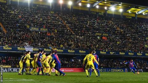 Lionel Messi equalises for Barcelona against Villarreal
