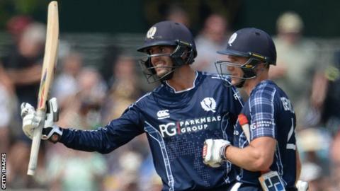 Calum MacLeod celebrates his century against England