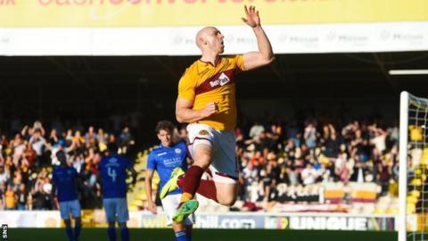 Conor Sammon celebrates scoring for Motherwell