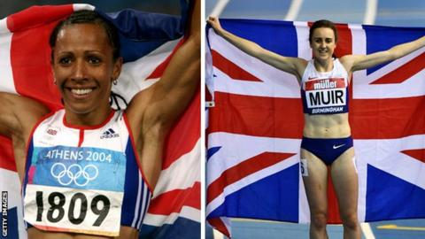 Dame Kelly Holmes (left) and Laura Muir