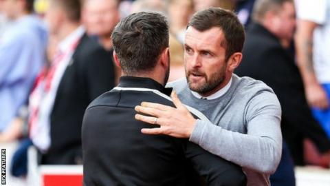 Stoke boss Nathan Jones was the recipient of some supportive words form opposite number Lee Johnson after the match