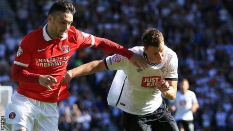 Charlton Athletic's Tony Watt (left) tussles for possession with Derby County's Craig Forsyth