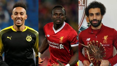 aubameyang mane and salah vie for caf player of the year award