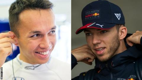 Alexander Albon (left) and Pierre Gasly