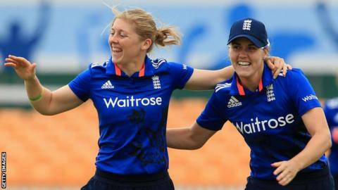 England's Heather Knight celebrates a wicket