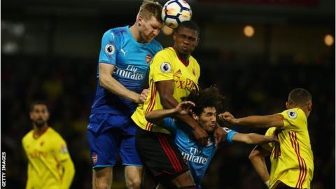 Per Mertesacker scored on his first Arsenal Premier League start since April 2016