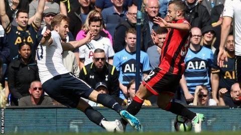 Jack Wilshere collides with Tottenham's Harry Kane