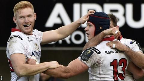Luke Marshall is congratulated by Rory Scholes are scoring Ulster's third try in Toulouse
