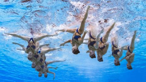 Gwangju, South Korea, 18 July: Russia's team compete in the free combination artistic swimming event at the 2019 World Aquatics Championships at Yeomju Gymnasium. (Photo by Francois-Xavier Marit/AFP/Getty Images)