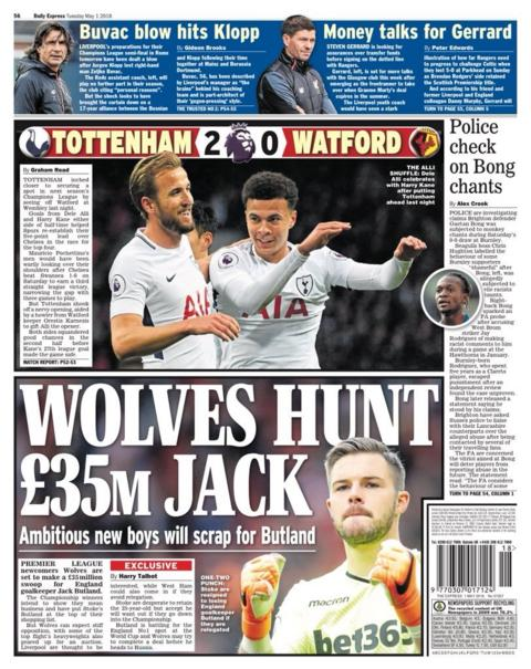 Express back page on Tuesday