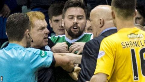 Hibs' Neil Lennon and Morton's Jim Duffy square up at Easter Road