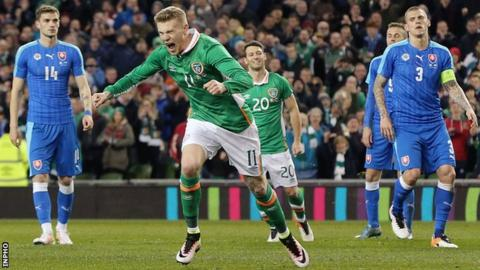 James McClean celebrates scoring a penalty in the Republic's friendly against Slovakia in March 2016
