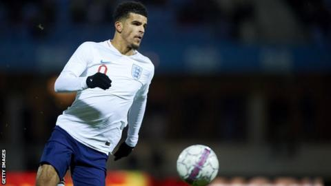 Liverpool striker Dominic Solanke playing for England Under-21 in a friendly against Italy