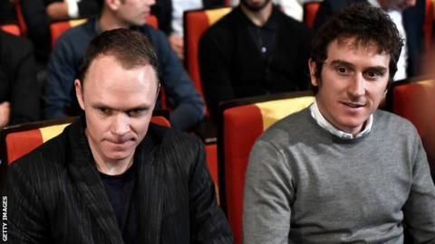 Team Sky team-mate Chris Froome and Geraint Thomas sit next to each other during the 2019 Tour de France route presentation