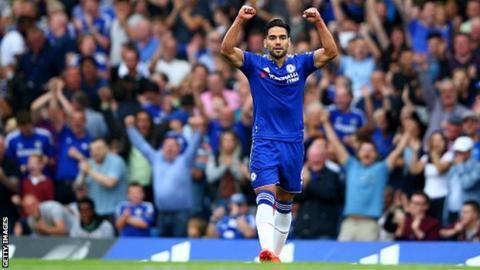 Forward Radamel Falcao celebrates scoring for Chelsea