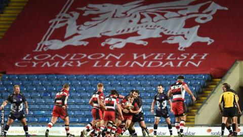 London Welsh banner at Kassam Stadium