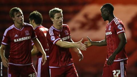Middlesbrough celebrate Albert Adomah's goal