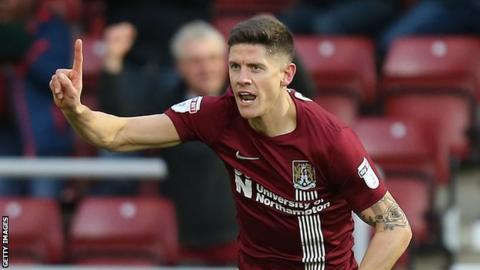 Alex Revell celebrates scoring for Northampton against Southend earlier this month