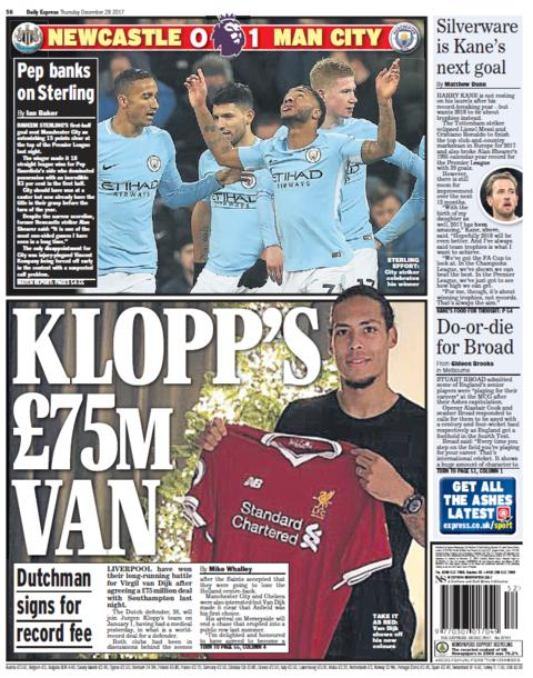 The Express back page on Thursday