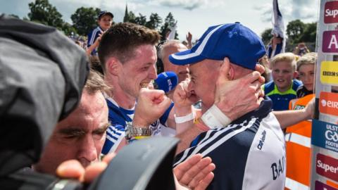 Conor McManus and Malachy O'Rourke show their elation moments after the final whistle
