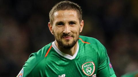 Conor Hourihane shows his delight after hitting his first international goal in Dublin