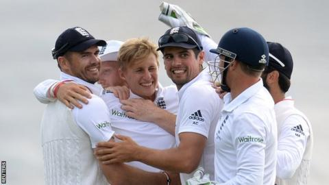 England celebrate during the first Test win over Australia in Cardiff in the 2015 Ashes series