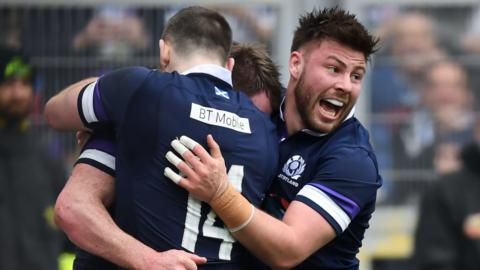 Scotland players celebrate