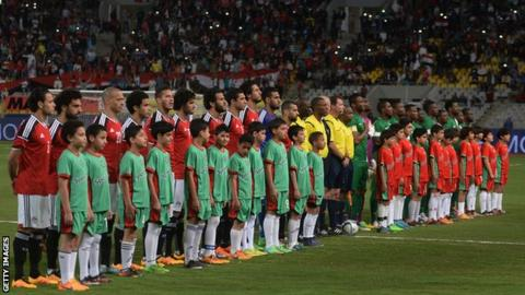 Egypt and Nigeria before a match in 2016