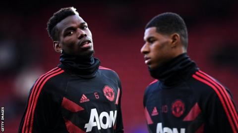 Marcus Rashford and Paul Pogba in training