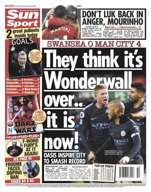 "The Sun ""Wonderwall Over"" in tribute to Manchester City"