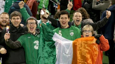Republic of Ireland fans celebrate after their Euro 2016 play-off win over Bosnia-Herzegovina