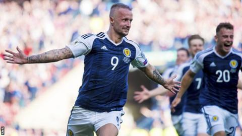 Leigh Griffiths celebrates scoring for Scotland against England