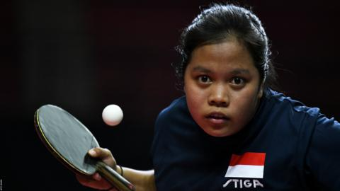 Yogyakarta, Indonesia, September 15: Siti Aminah of Indonesia competes against Emy Rose Dael of Philippines during day one of the ITTF-Asian Table Tennis Championships at Among Raga Stadium (Photo by Robertus Pudyanto/Getty Images).