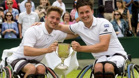 Gordon Reid (right) shows off the doubles trophy with his partner Alfie Hewett